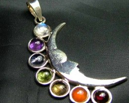 Exotic 925 Silver Handcrafted 7 Gemstone Pendant JW119