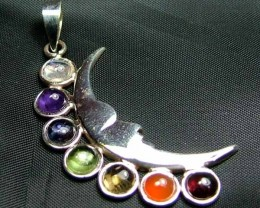 Exotic 925 Silver Handcrafted 7 Gemstone Pendan JW105