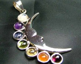 Exotic 925 Silver Handcrafted 7 Gemstone Pendant JW107