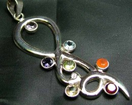 Exotic 925 Silver Handcrafted 7 Gemstone Pendant  JW131