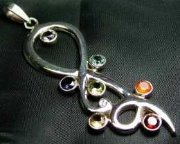 Exotic 925 Silver Handcrafted 7 Gemstone Pendant JW129