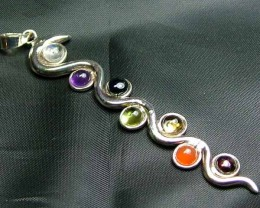 Exotic 925 Silver Handcrafted 7 Gemstone Pendant  JW132