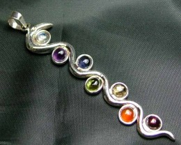 Exotic 925 Silver Handcrafted 7 Gemstone Pendant JW111