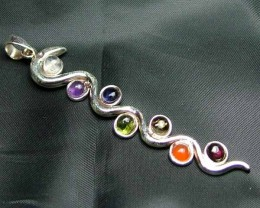 Exotic 925 Silver Handcrafted 7 Gemstone Pendant JW112