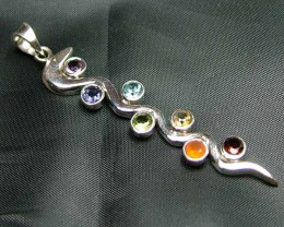 Exotic 925 Silver Handcrafted 7 Gemstone Pendant JW113