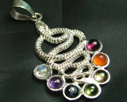 Exotic 925 Silver Handcrafted 7 Gemstone Pendant JW72