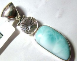 LARIMAR PENDANT SILVER JEWELRY  58 CTS  TBG-71