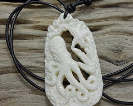 Hawaii Bone Octopus Pendant Leather Surfer Necklace