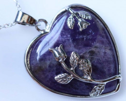 Heart shape Amethyst Pendant BU1219