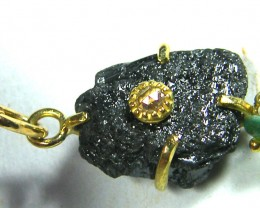 BLACK DIAMOND PENDANT-18KGOLD-CHAIN 10K- 14.30  CTS