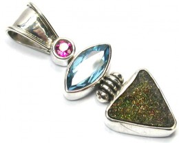 GEMSTONES PENDANT DIRECT FROM FACTORY SILVER 23.15CTS SJ1176