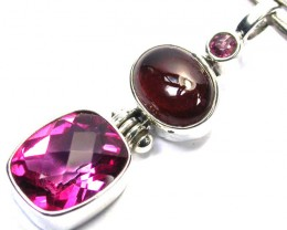 GEMSTONES PENDANT DIRECT FROM FACTORY SILVER 22.75CTS SJ1182