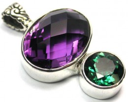 GEMSTONES PENDANT DIRECT FROM FACTORY SILVER 29.20CTS SJ1183