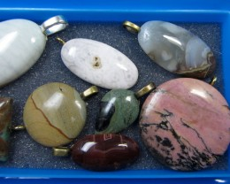 8 MIXED GEMSTONE PENDANTS-RE SELLERS PARCEL   MYGM 506