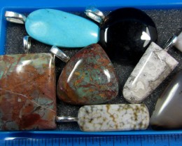 8 MIXED GEMSTONE PENDANTS-RE SELLERS PARCEL  MYGM 528