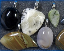 8 MIXED GEMSTONE PENDANTS-RE SELLERS PARCEL  MYGM 529