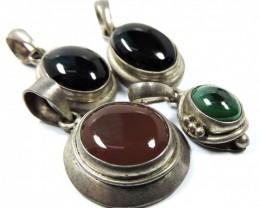 Ancient Agate  pendants four Nepal JGG 15
