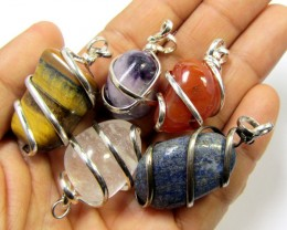 249 CTS TRADE DEAL FIVE TUMBLED GEMSTONE PENDANTS MGMG 386