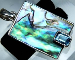 ABALONE SHELL PENDANT WITH TOPAZ 15.10 CTS TBJ-511