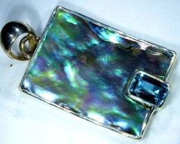 ABALONE SHELL PENDANT WITH TOPAZ  14.7 CTS    TBJ-514