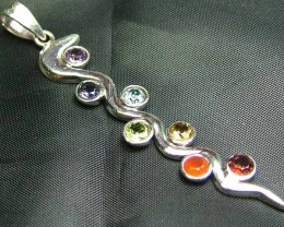 Exotic 925 Silver Handcrafted 7 Gemstone Pendant  JW133