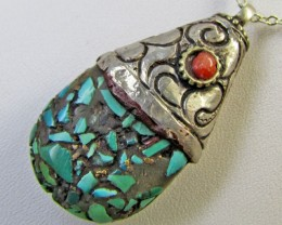 Beuatiful  Turquoise Tribal Design   MJA 371