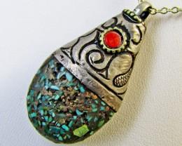 Beuatiful  Turquoise Tribal Design   MJA 372