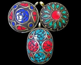 Parcel  3 Tribal Pendants  for price of one  MJA 382