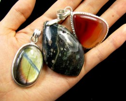 Three Jasper pendant s for price one!  MJA 385