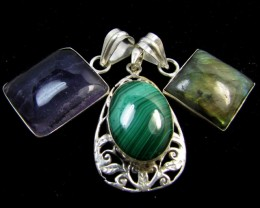 Three Gemstone pendant s for price one!  MJA 392