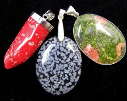 Three Gemstone pendant s for price one!  MJA 395