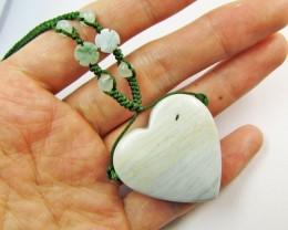 92 cts Jasper Heart   Gemstone pendant - Necklace    MJA 476