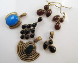 110 cts Parcel five tribal bronze gemstone pendants MJA 1193
