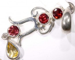 FACETED GARNET AND CITRINE SILVER PENDANT - 28 CTS TBJ-623