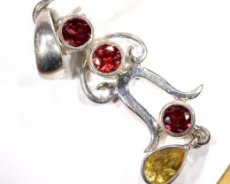 FACETED GARNET AND CITRINE SILVER PENDANT - 28 CTS TBJ-624