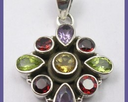 STRIKING MULTI-COLORED GEMSTONE ART-DECO S/S PENDANT