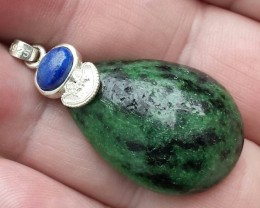 RUBY ZOISITE AND LAPIS LAZULI SS 925  PENDANT