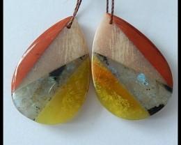 44.5ct Natural Red Jasper,Labradorite,Sunstone,Yellow Opal Intarsia Earring