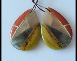 4 Natural GEMSTONES Intarsia Earring Beads