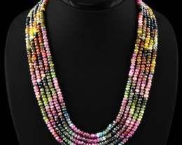Genuine 520.20 Cts Watermelon Tourmaline 4 Line Gemstone Beads Necklace