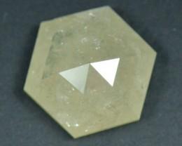 1.72ct Hexagon Rose Cut diamond deep ivory color