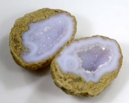 Untreated Crystalized Druzy Geode pair 18.5 cts ANGC-216