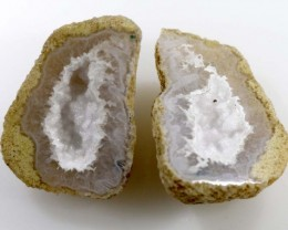 Untreated Crystalized Druzy Geode pair  12.5 cts ANGC-222