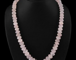 LIMITED PERIOD OFFER -Genuine Pink Rose Quartz Beads Necklace