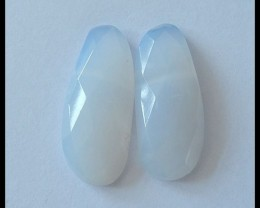 Faceted Blue Lace Agate Cabochon Pair,21ct