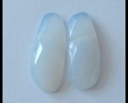 Faceted Blue Lace Agate Cabochon Pair,21ct
