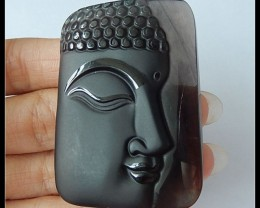 Larger!Exquoisite Smoky Quartz Buddha Carving Pendant Bead,156ct