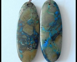44ct Natural Chrysocolla Earring Beads