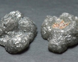 13.53ct 13mm pair of deep grey Rough diamond slices