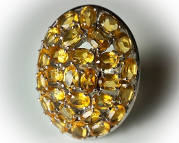 88.00CT HUGE STUNNING CITRINE RING - STERLING SILVER SIZE 9.0